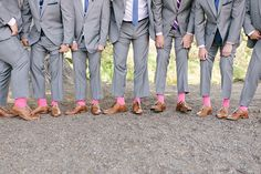 #Pink #Socks | Ha! | Photography: We Heart Photography | See more of this fun-filled wedding here - http://stylemepretty.com/2013/11/08/cayucos-wedding-from-we-heart-photography