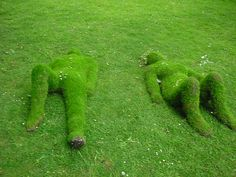 Reclining People Made of Grass