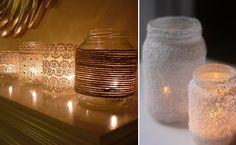 Potjes omwikkeld met touw, beplakt met kant of ingesmeerd met lijm en zout idea, candle holders, mason jar candles, decoratie zelf maken, mason jars, masonjar, diy, candle decorations