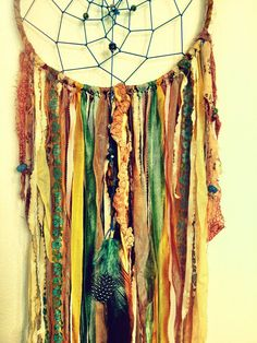 Bohemian Spirit Vintage Fabric Dreamcatcher