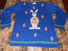 M Quacker Factory 3D Bunny Love Crewneck Tunic Sweater Royal Blue Easter Rabbit | eBay $19.99