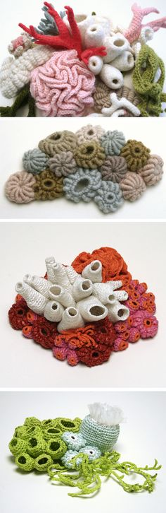 Crocheted barnacles and coral .  Helle Jorgensen