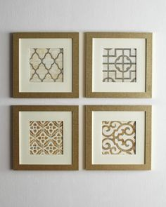 Geometric Prints at Horchow. $295... How easy would this be to do with nice scrapbooking paper and nice frames for WAY less!