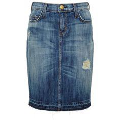 Current/Elliott Jodie Distressed Denim Skirt found on Polyvore