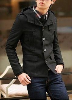 style men, men black, fit hood, black slim, slim fit, hood button