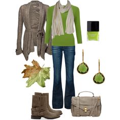 """Comfy Green Fall Outfit"" by natihasi on Polyvore"