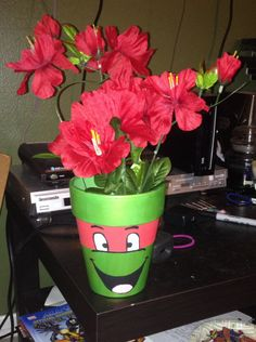 My TMNT flower pot with red flowers for Raphael!
