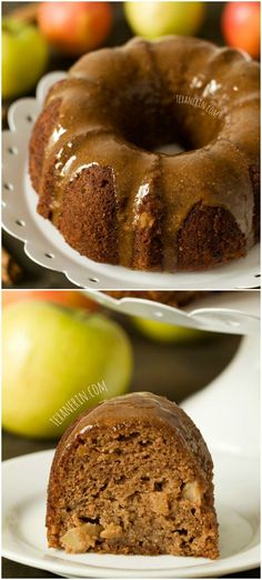 A super moist apple butter bundt cake full of fall flavor and with maple cinnamon almond butter glaze! #grainfree #glutenfree and #dairyfree