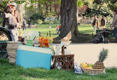 Anything goes... bring your gigantic bottles of wines and baskets of fruit. #parisianpicnic