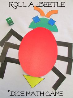 Roll a Beetle Dice Math Game! #preschool #kidscrafts #efl #education (repinned by Super Simple Songs)