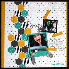 nutmeg creations: Artisan Wednesday Wow - Oh Snap Hexagon Scrapbook Page