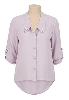 High-Low Embellished Collar Button Down Blouse (original price, $29) available at #Maurices