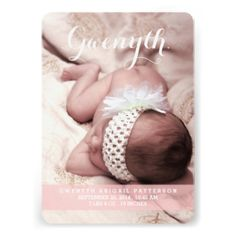 Thoroughly modern and simply elegant, this design is a perfect way to introduce your sweet little girl. Features lovely cursive typography and two large photos of your baby - one on the front and one on the back. The front also holds baby's birth information, and on the back a special text area to be personalized with parents and family info. #baby #birth #announcement #modern #simple #photo #two #photo #cursive #girl #pink #white #front #and #back #large #photo #contemporary #simplicity ...