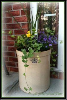 flowers in a crock