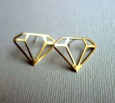 Brass Diamond Studs with Sterling Posts by RachelPfefferDesigns, $28.00