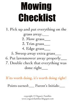 Mowing Check List