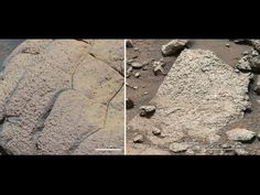 Two Different Aqueous Environments. Rocks seen by Opportunity and Curiosity on two different parts of Mars. On the left (Opportunity) a sandstone that probably partly formed & cemented in the presence of water, but in a highly acidic environment. But on the right, Curiosity found fine-grained sediments from a habitable environment with low salinity and a neutral pH. (Images have been white-balanced to show what they might look like on Earth.) (Image Credit: NASA/JPL-Caltech/Cornell/MSSS)