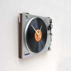 music decor, idea, turntabl clock, time, stuff