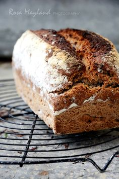 wholewheat and rye sourdough bread with flax seeds and oats