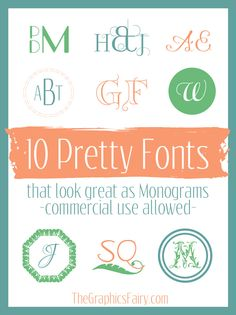 10 Commercial Free Monogram Fonts I love playing with fonts and mixing and combining them for blog posts and other projects.