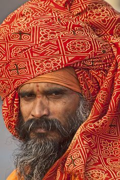 A Portrait. A holy man of Haridwar at Har-Ki-Pairi