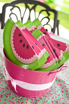 Watermelon fans for a summer or outdoor party made out of paper plates! Watermelon themed party via Kara's Party Ideas - THE place for ALL things party!