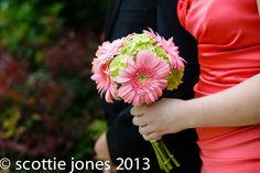 Bridesmaids bouquet with hydrangeas and gerbera daisies