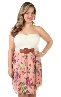Deb Shops plus size strapless #lace #floral printed belted casual #dress