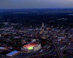 Nebraska Memorial Stadium aerial at night. Lincoln, NE.