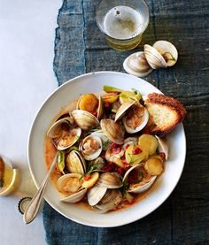Littleneck Clams with Chorizo, New Potatoes and Spring Onions