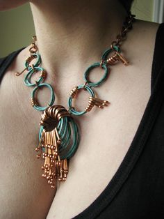 Unbearably cool!!! Patina Necklace - Plumage - Oxidized Copper - Copper jewelry - handmade in my studio. $98.00, via Etsy.