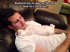 the relationship between men and cats I will never understand!