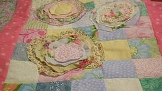 Ragged edge applique cottage roses on sweet little tablerunner