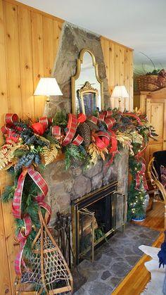 lush Christmas mantle holiday, lodg, color, ribbon, christmas baby, country christmas, rustic christmas, christmas mantles, christmas mantels