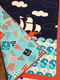 Ahoy Matey 2  baby boy crib quilt  nautical by ModernMaterialGirl