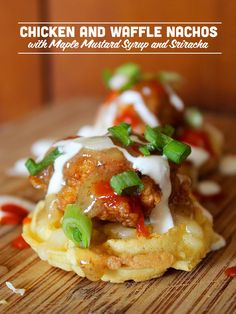 Chicken and Waffle Nachos with Maple Mustard Syrup and Sriracha
