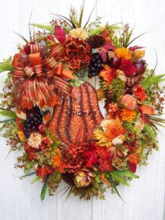 XL GIVE THANKS   Fall  Autumn  Thanksgiving  Door Wreath