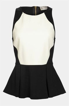 ASTR Faux Leather Front Peplum Tank | Nordstrom