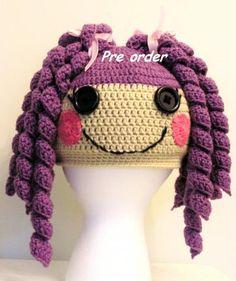 Lalaloopsy - Purple hair crochet hat.