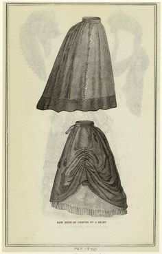 1870s - rings (bone?) on inside of skirt for bustling. *For modern making, plastic rings found in drapery departments could be used*