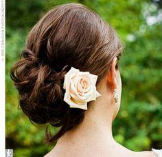 Pinned bun with rose bridesmaid hair, wedding updo, hair wedding, bridal hair, girl hairstyles, wedding photos, messy buns, wedding hair styles, wedding hairstyles