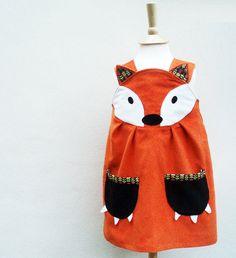 little dresses, kids clothes, children, daughters, fox dress, girl fox, elves, play dress, fox play