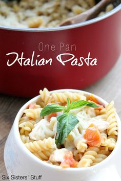20-Minute One-Pan Italian Pasta from SixSistersStuff.com. It's a dish the whole family will enjoy!