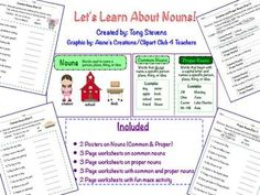 $2.50-Common and Proper Nouns: Posters and Worksheets