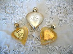 EVYAN COLOGNES: White Shoulders, Most Precious, Great Lady Sealed in Vintage Heart Perfume Bottles 1950s Original Formula