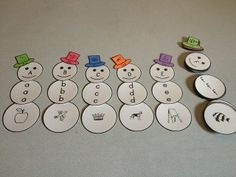 Snowman ABC! Match the upper-case, lower-case, and a beginning letter picture!