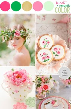 Color Story   Shades of Pink, Green + Gold! http://www.theperfectpalette.com/2013/07/color-story-sweet-romantic-color.html