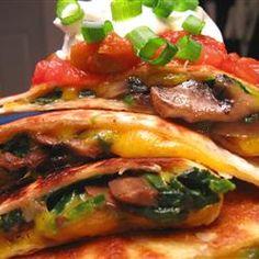 Spinach and Mushroom Quesadillas Allrecipes.com