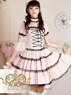 Pink Short Sleeve Square Collar Cotton Lolita Sweet Dress