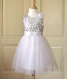 Christmas vintage sparkle tulle sequin pageant party bridal white on
